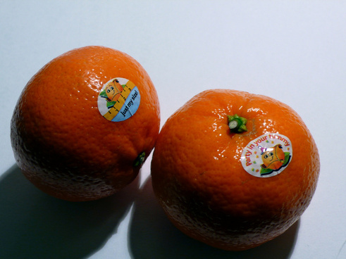 mandarins with stickers