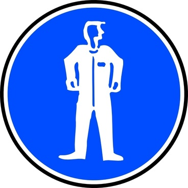 Mandatory Bodily Protection Blue Sign Sticker clip art