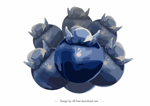 mangosteen fruit painting dark blue classic watercolor sketch