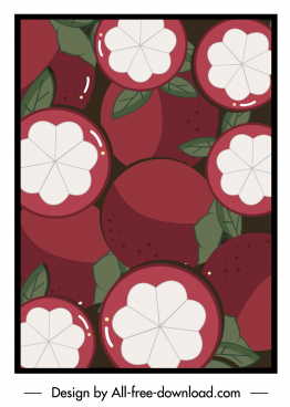 mangosteen painting colored flat retro design