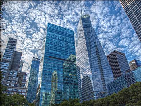 manhattans buildings reflections