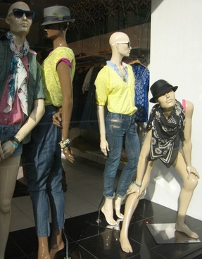 mannequins in window