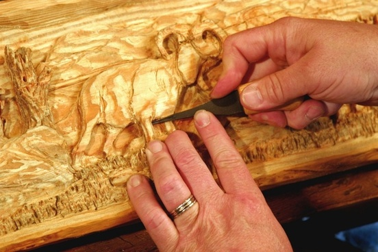 mantel carving hands