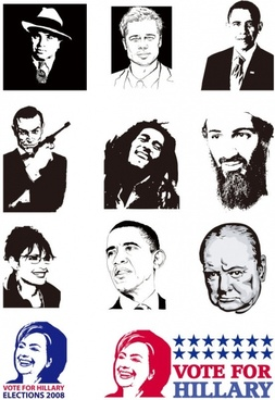 many wellknown figures vector