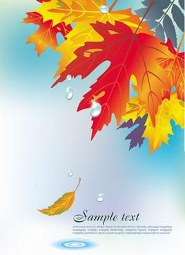 autumn background template leaves droplets decor modern design