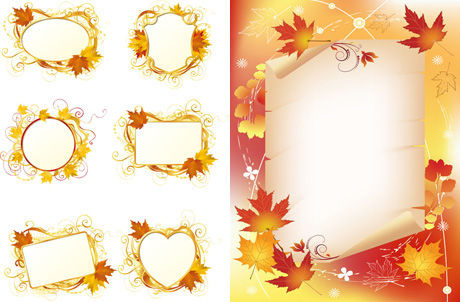 maple leaf decorative frame vector