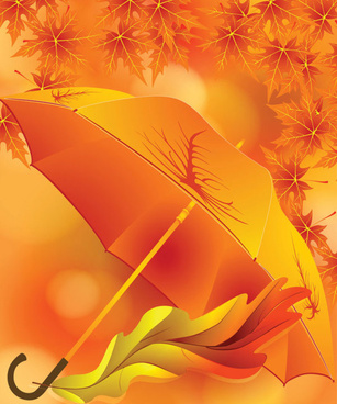 maple leaves and umbrella vector background