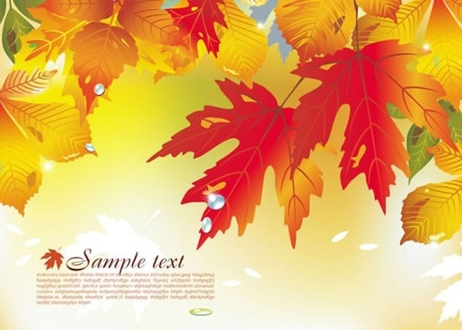 autumn background template bright colorful modern leaves decor