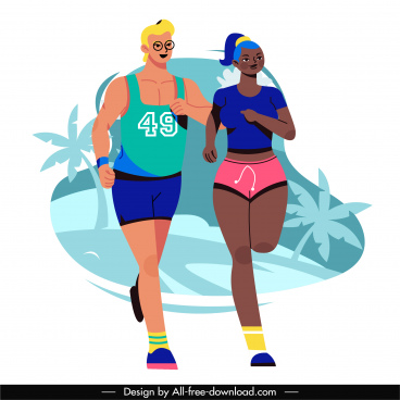 marathon icon running athletes sketch cartoon characters