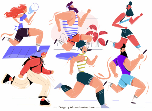 marathon sports icons running people sketch cartoon design
