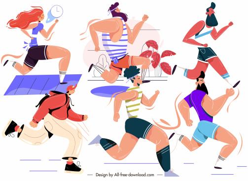 marathon sports icons running people sketch cartoon design