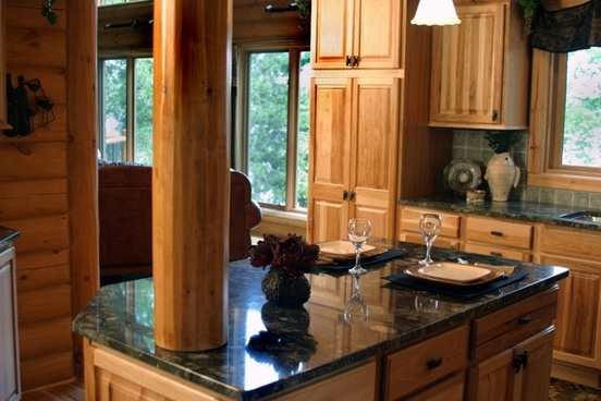 marble countertop log home kitchen