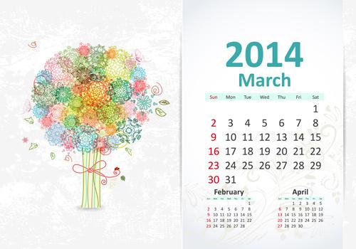 march14 calendar vector