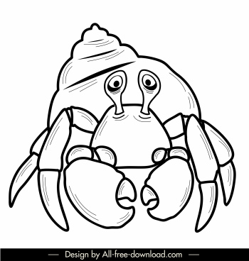 marine animal icon hermit crab sketch handdrawn design