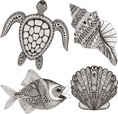 marine animals with floral pattern vector