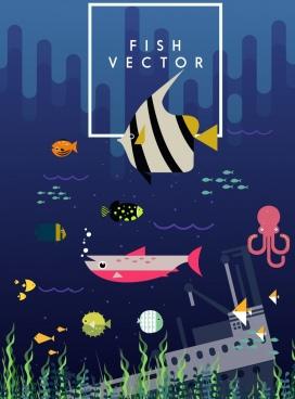 marine background fishes submarine icons colored cartoon