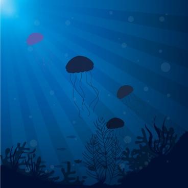 marine background jelly fishes decoration dark blue design