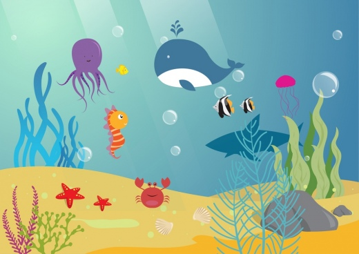 marine background ocean animals icons colorful cartoon style