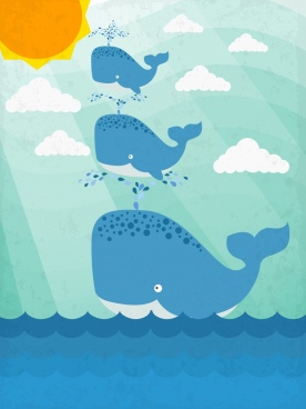 marine background playful whales icons colored cartoon design