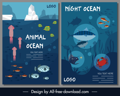 marine background swimming animals sketch colorful design