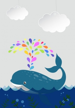 marine background whale icon decor paper cut style