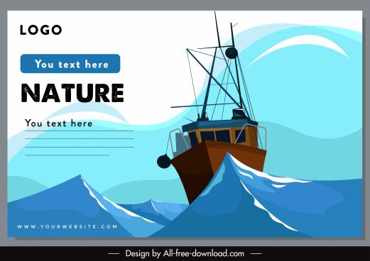 marine banner dynamic ship sea sketch
