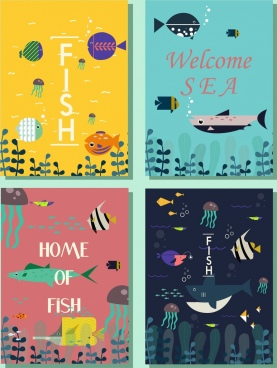 marine book cover templates fish icons colored cartoon