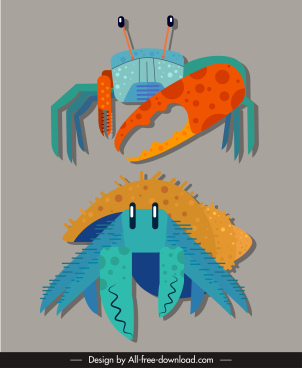 marine crab icons colorful closeup flat sketch