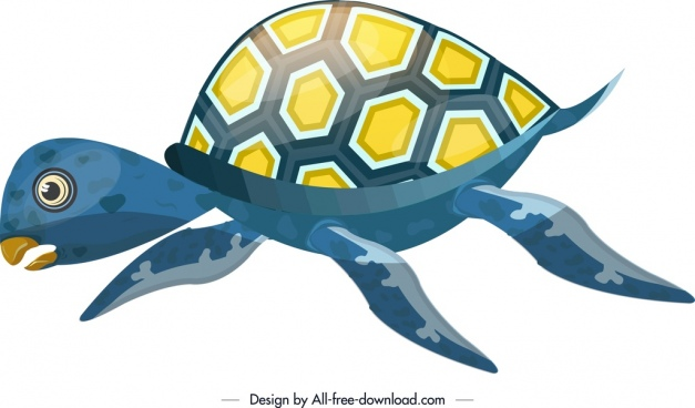 marine creature background turtle icon colorful sketch