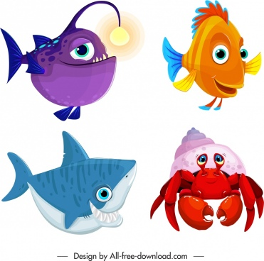marine creature icons cute cartoon fish crab sketch