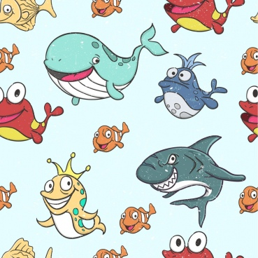 marine creatures background colored stylized cartoon icons
