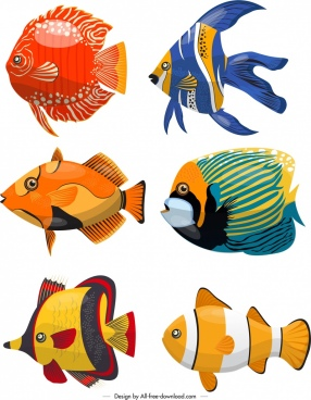 marine creatures background colorful fishes icons decor