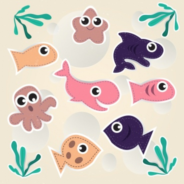 marine creatures background multicolored paper cut icons