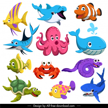 marine creatures icons cute colored cartoon sketch