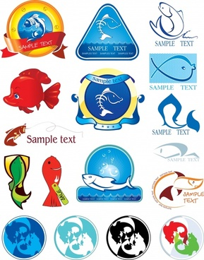 marine logotypes collection fish icons sketch colored shapes