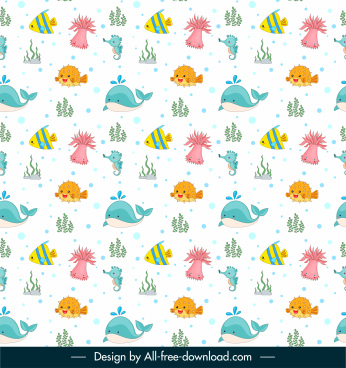 marine elements pattern colorful flat repeating sketch