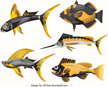 marine fishes icons shiny colored modern sketch