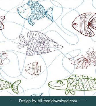 marine fishes pattern flat handdrawn sketch