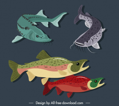 marine fishes species icons colored handdrawn design
