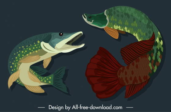 marine fishes species icons colored motion sketch