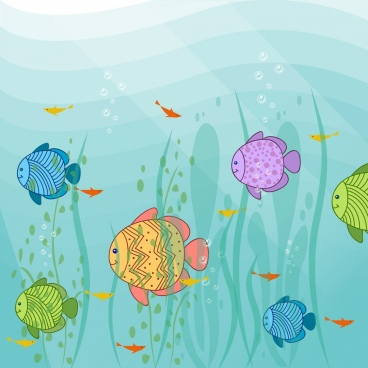 marine life drawing colorful handdrawn fish icons