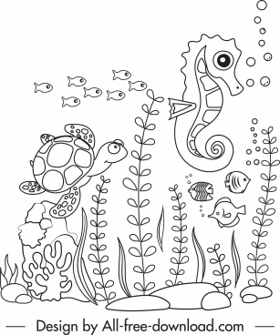 marine life drawing cute handdrawn sketch