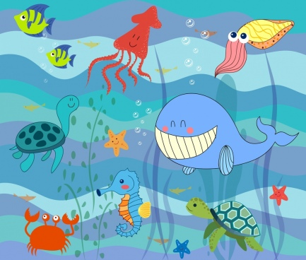 marine life drawing ocean creature icons stylized design