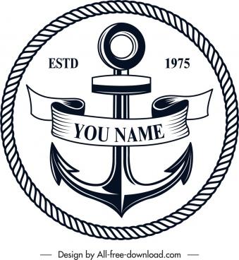marine logotype anchor icon classical design