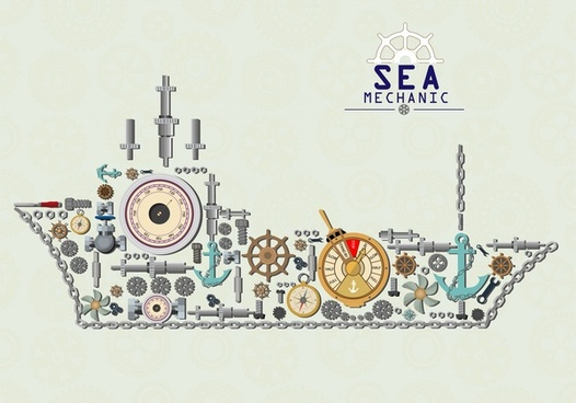 marine mechanic concept with ship mechanical parts design