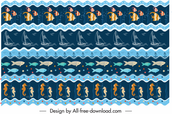 marine pattern template colorful repeating symbols