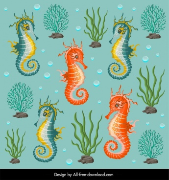 marine pattern template seahorses coral icons decor