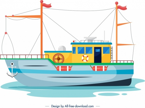 marine ship icon colorful flat sketch