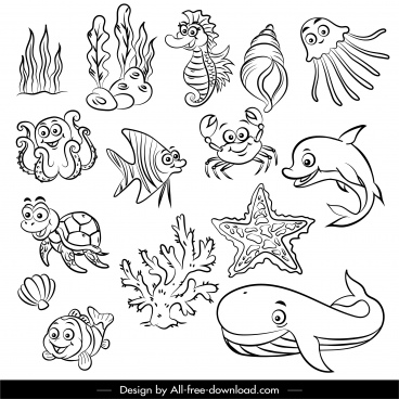 marine species icons black white handdrawn cartoon sketch