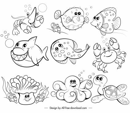 marine species icons black white handdrawn cartoon sketch